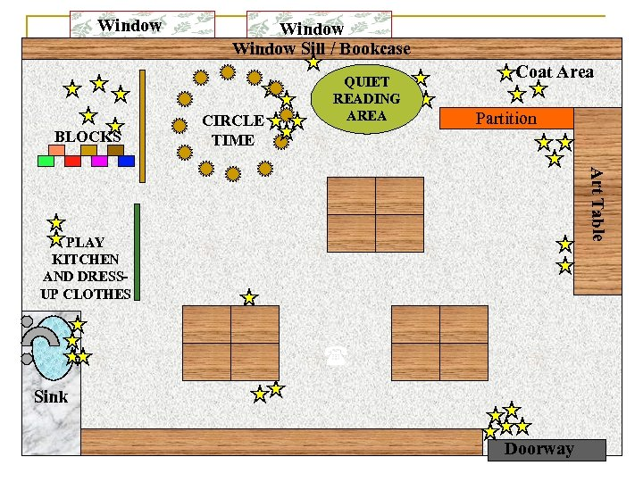 Window BLOCKS Window Sill / Bookcase CIRCLE TIME QUIET READING AREA Coat Area Partition