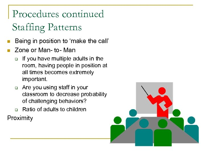Procedures continued Staffing Patterns n n Being in position to 'make the call' Zone