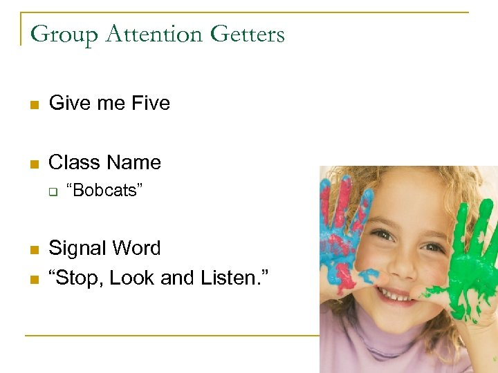 """Group Attention Getters n Give me Five n Class Name q n n """"Bobcats"""""""
