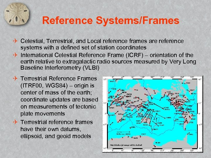 Reference Systems/Frames Q Celestial, Terrestrial, and Local reference frames are reference systems with a