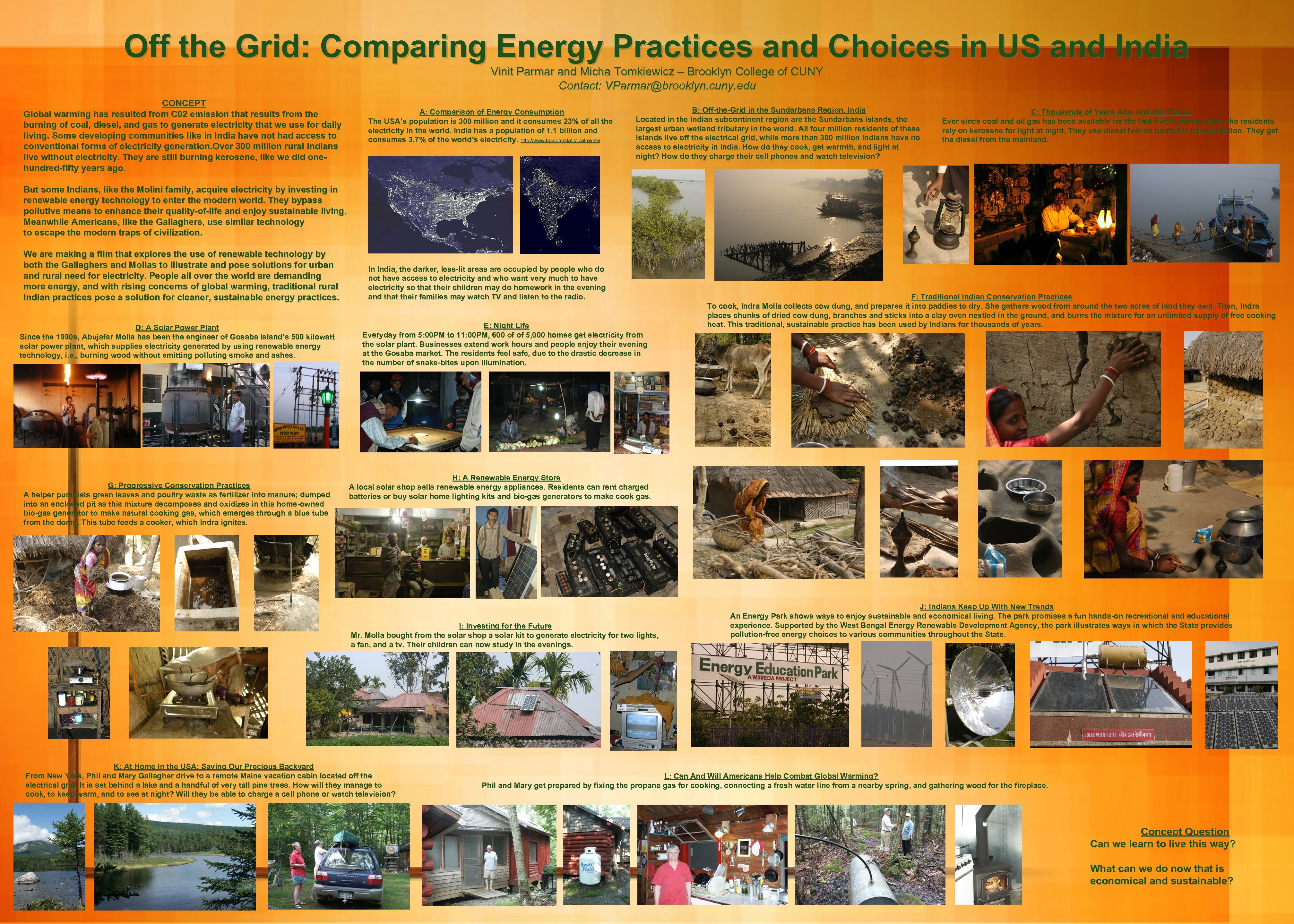 Off the Grid: Comparing Energy Practices and Choices in US and India Vinit Parmar