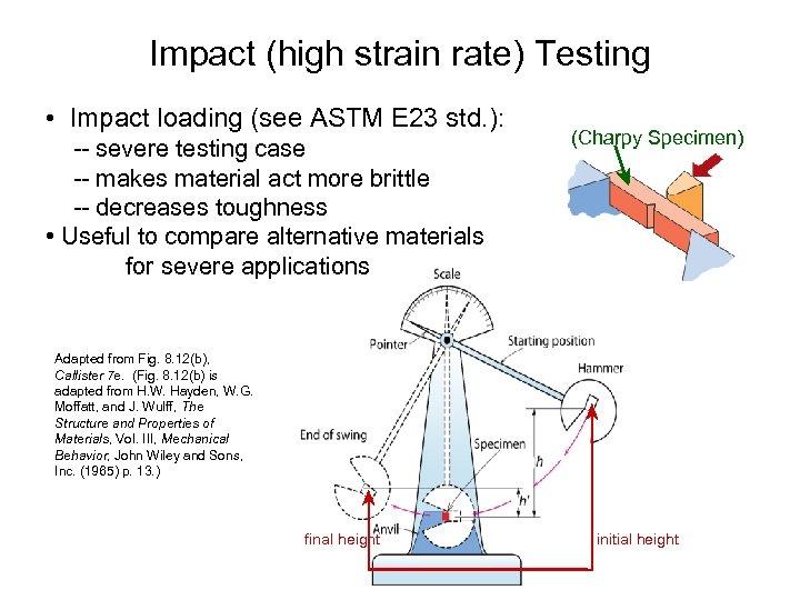 Impact (high strain rate) Testing • Impact loading (see ASTM E 23 std. ):