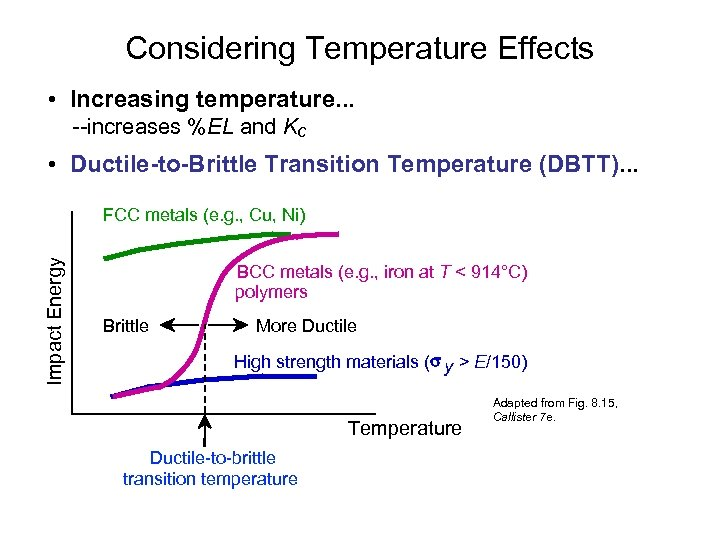 Considering Temperature Effects • Increasing temperature. . . --increases %EL and Kc • Ductile-to-Brittle