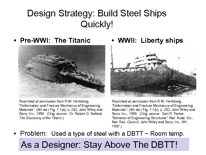 Design Strategy: Build Steel Ships Quickly! • Pre-WWI: The Titanic Reprinted w/ permission from