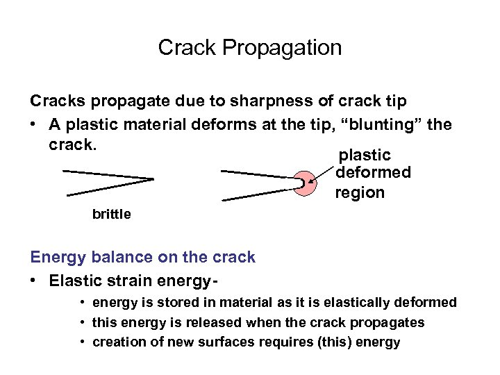 Crack Propagation Cracks propagate due to sharpness of crack tip • A plastic material
