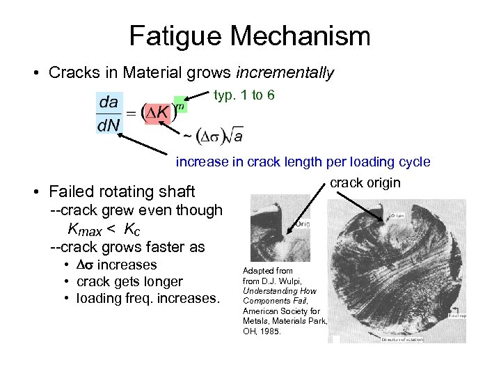 Fatigue Mechanism • Cracks in Material grows incrementally typ. 1 to 6 increase in