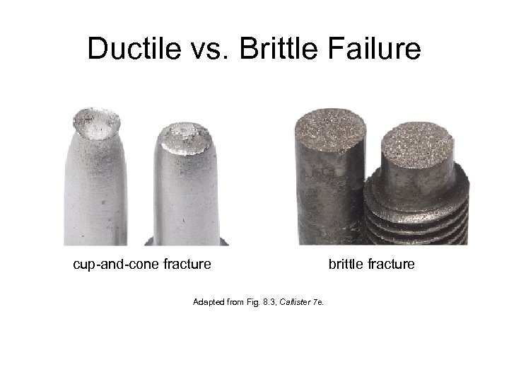 Ductile vs. Brittle Failure cup-and-cone fracture Adapted from Fig. 8. 3, Callister 7 e.