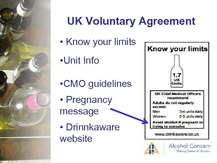 UK Voluntary Agreement • Know your limits • Unit Info • CMO guidelines •