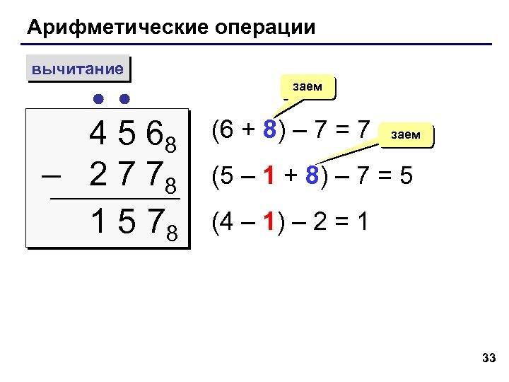 Арифметические операции вычитание 4 5 68 – 2 7 78 1 5 78 заем
