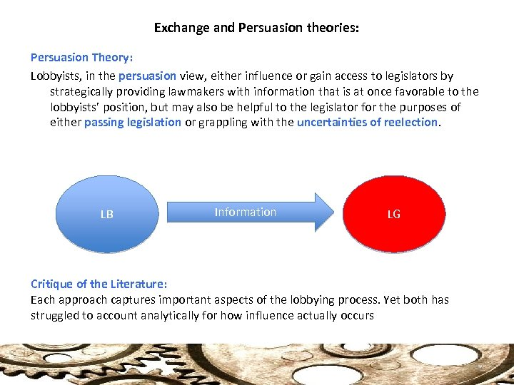 the teaching behind the theories of persuasion Mode processing models of persuasion (eagly & chaiken 1993, petty & wegener 1998a), especially by the demonstration that informational, accuracy-seeking motives can lead either to extensive processing and enduring attitude change or.