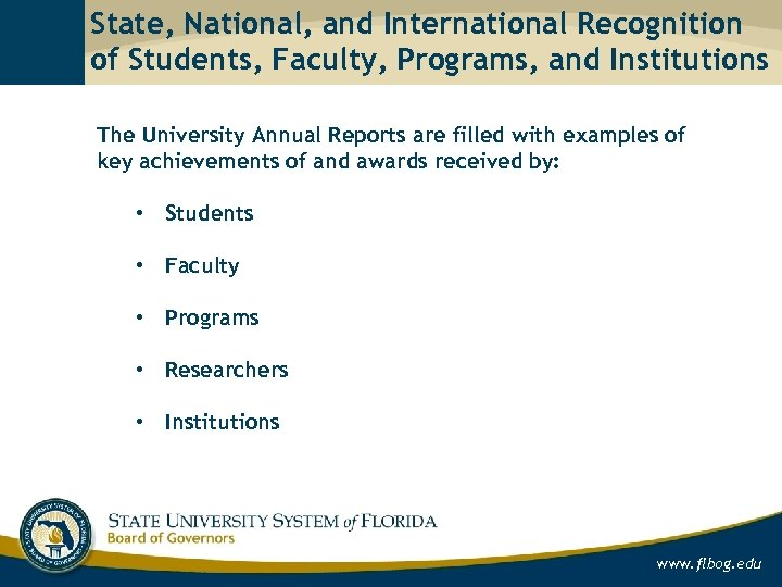 State, National, and International Recognition of Students, Faculty, Programs, and Institutions The University Annual