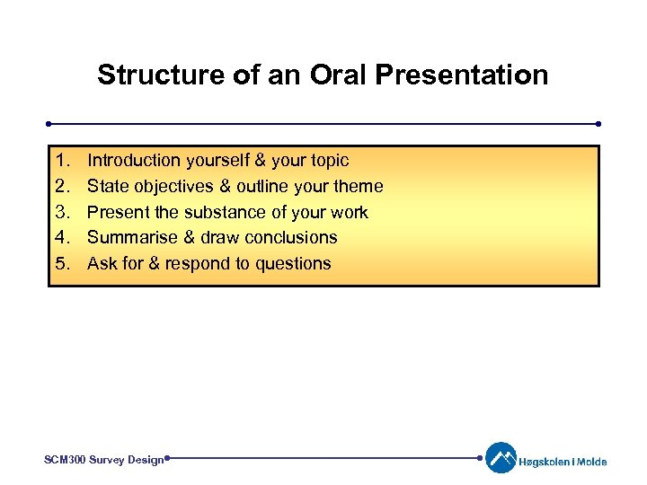 Structure of an Oral Presentation 1. 2. 3. 4. 5. Introduction yourself & your