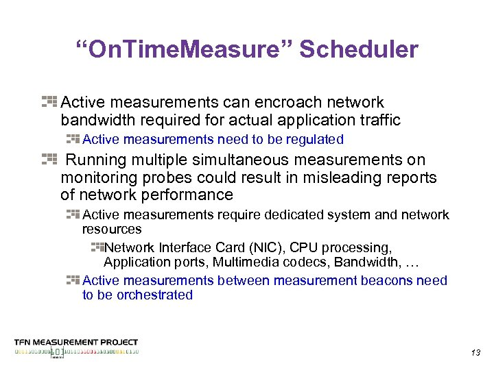 """""""On. Time. Measure"""" Scheduler Active measurements can encroach network bandwidth required for actual application"""