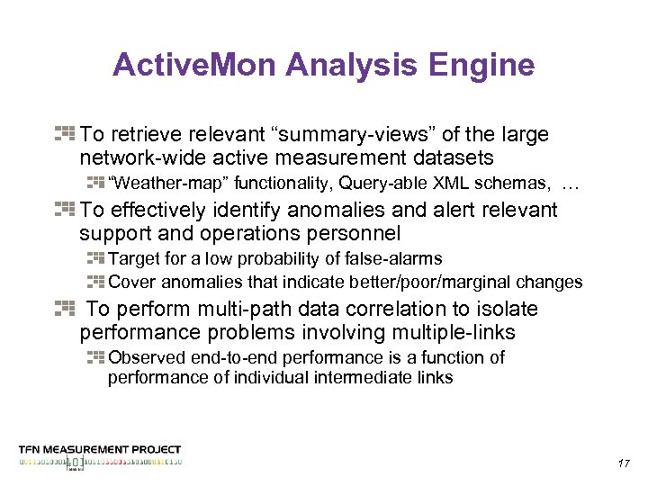 """Active. Mon Analysis Engine To retrieve relevant """"summary-views"""" of the large network-wide active measurement"""
