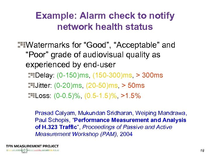 """Example: Alarm check to notify network health status Watermarks for """"Good"""", """"Acceptable"""" and """"Poor"""""""