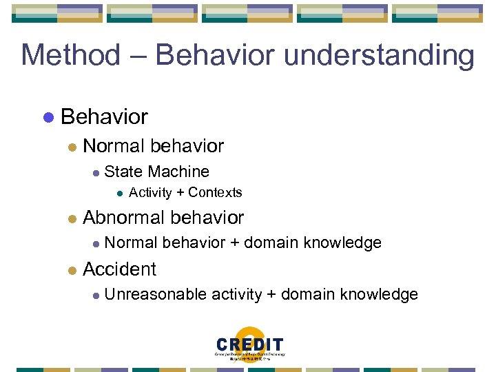 Method – Behavior understanding l Behavior l Normal behavior l State Machine l l