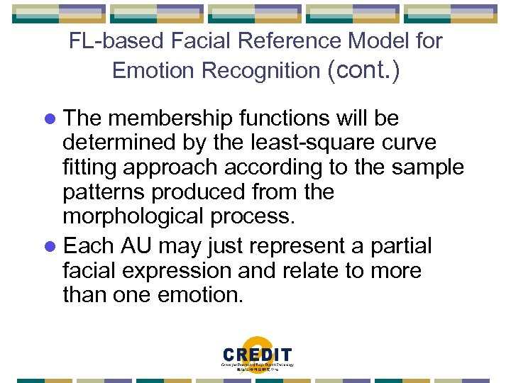 FL-based Facial Reference Model for Emotion Recognition (cont. ) l The membership functions will