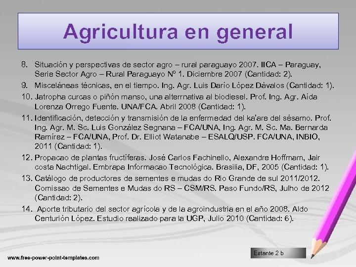 Agricultura en general 8. Situación y perspectivas de sector agro – rural paraguayo 2007.