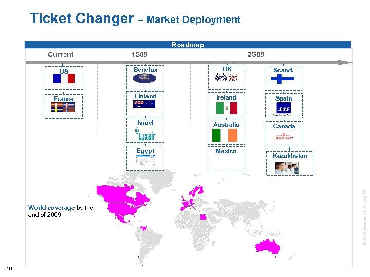 Flagship products Ticket Changer – Market Deployment New biz Roadmap Current 1 S 09