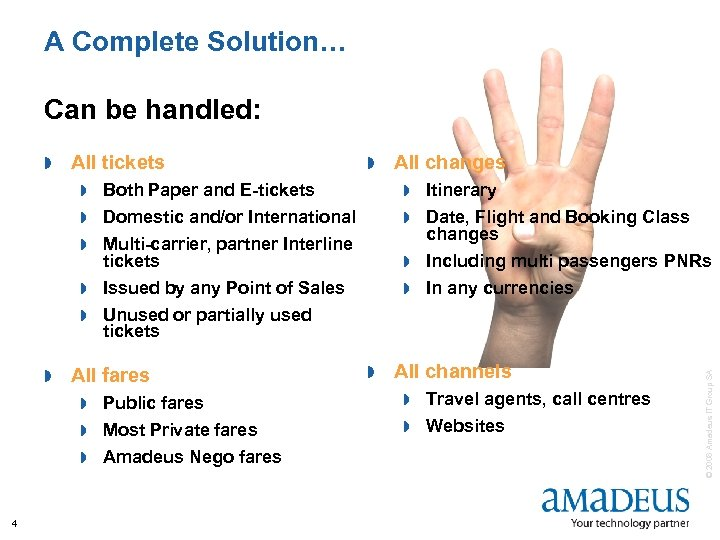 A Complete Solution… Can be handled: All tickets » » Both Paper and E-tickets