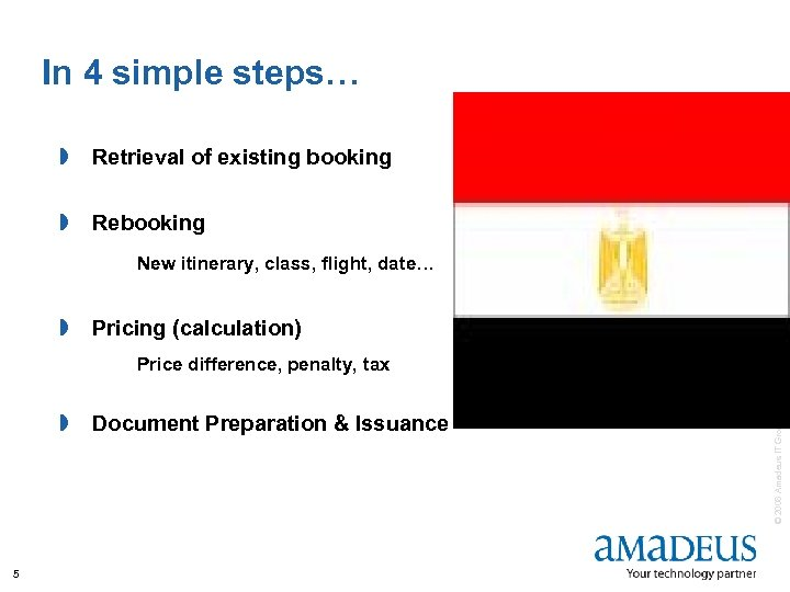 In 4 simple steps… » Retrieval of existing booking » Rebooking New itinerary, class,