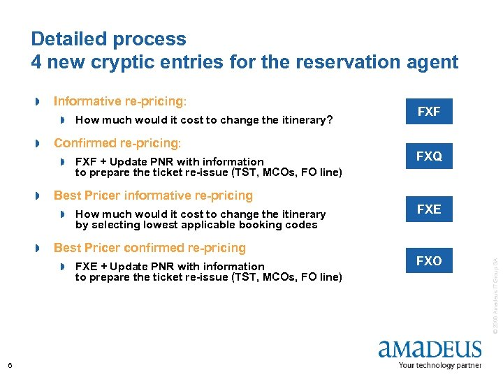 Detailed process 4 new cryptic entries for the reservation agent Informative re-pricing: » »