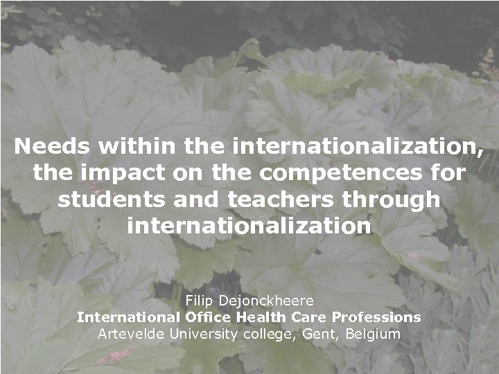 Needs within the internationalization, the impact on the competences for students and teachers through
