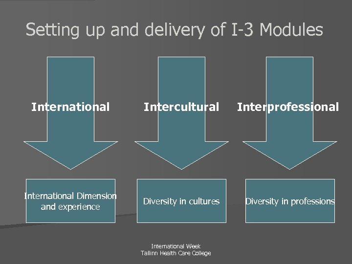 Setting up and delivery of I-3 Modules International Intercultural Interprofessional International Dimension and experience