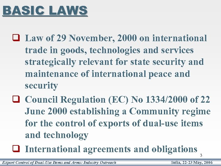 BASIC LAWS q Law of 29 November, 2000 on international trade in goods, technologies