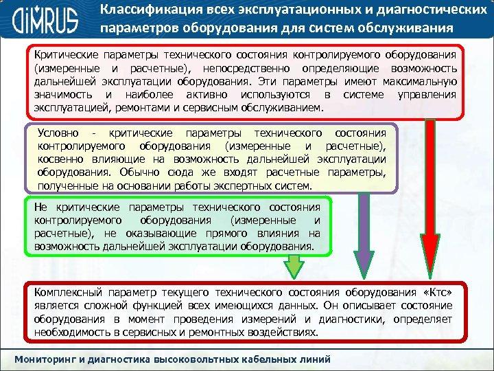 Классификация всех эксплуатационных и диагностических параметров оборудования для систем обслуживания Критические параметры технического состояния