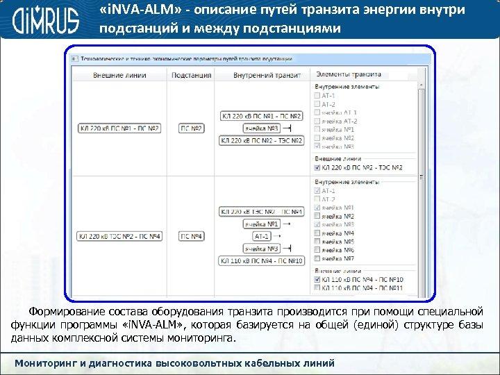 «i. NVA-ALM» - описание путей транзита энергии внутри подстанций и между подстанциями Формирование