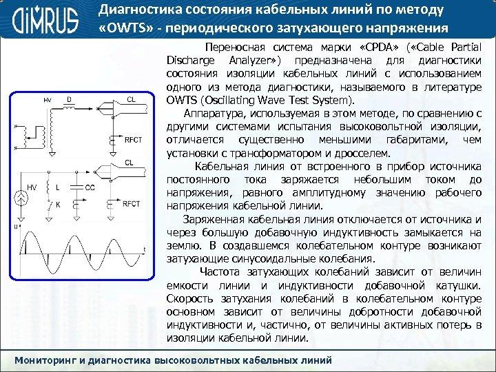 Диагностика состояния кабельных линий по методу «OWTS» - периодического затухающего напряжения Переносная система марки