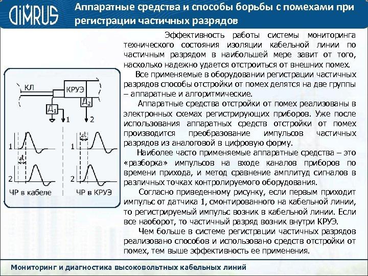 Аппаратные средства и способы борьбы с помехами при регистрации частичных разрядов Эффективность работы системы