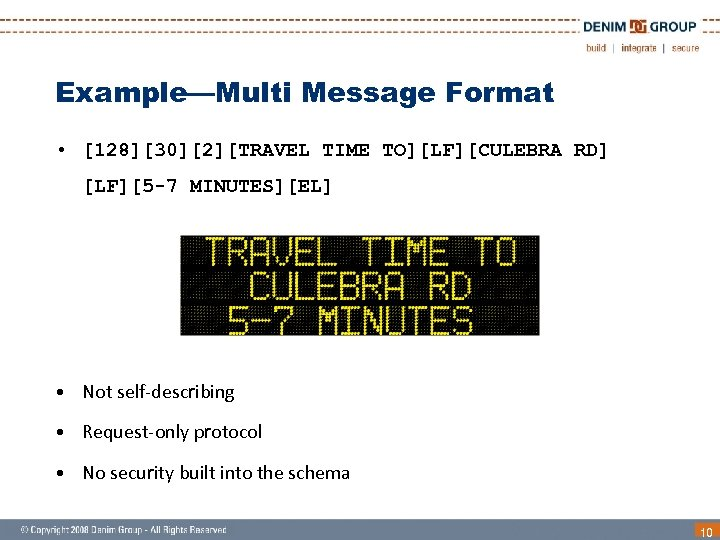 Example—Multi Message Format • [128][30][2][TRAVEL TIME TO][LF][CULEBRA RD] [LF][5 -7 MINUTES][EL] • Not self-describing
