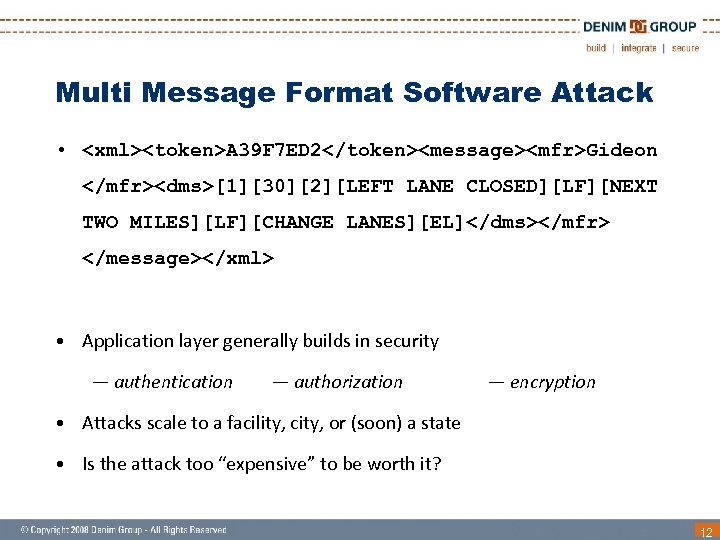 Multi Message Format Software Attack • <xml><token>A 39 F 7 ED 2</token><message><mfr>Gideon </mfr><dms>[1][30][2][LEFT LANE