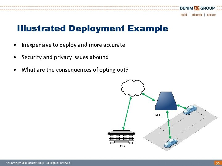 Illustrated Deployment Example • Inexpensive to deploy and more accurate • Security and privacy