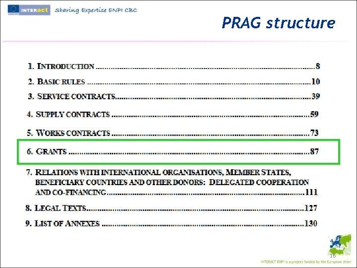 PRAG structure 16