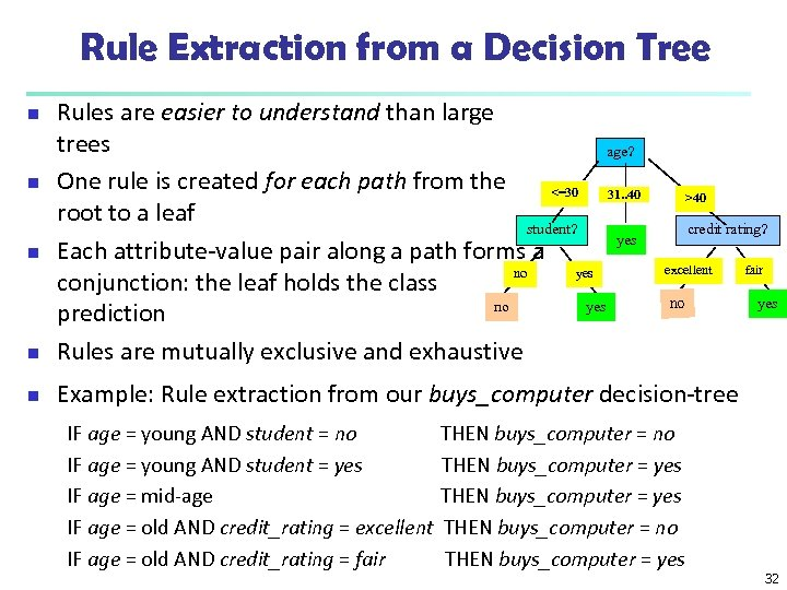 Rule Extraction from a Decision Tree n Rules are easier to understand than large