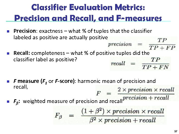 Classifier Evaluation Metrics: Precision and Recall, and F-measures n n Precision: exactness – what