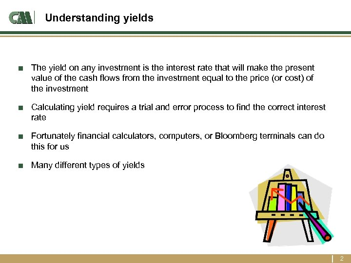 Understanding yields ■ The yield on any investment is the interest rate that will