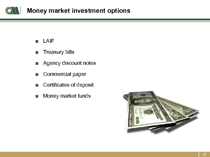Money market investment options ■ LAIF ■ Treasury bills ■ Agency discount notes ■