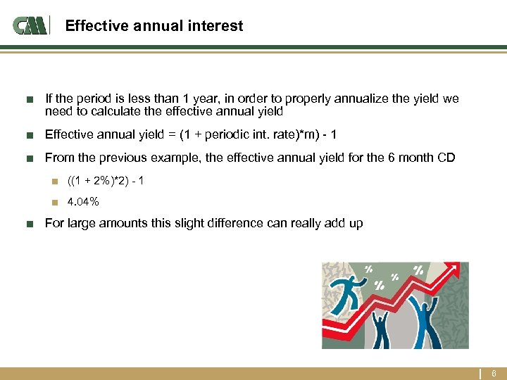 Effective annual interest ■ If the period is less than 1 year, in order
