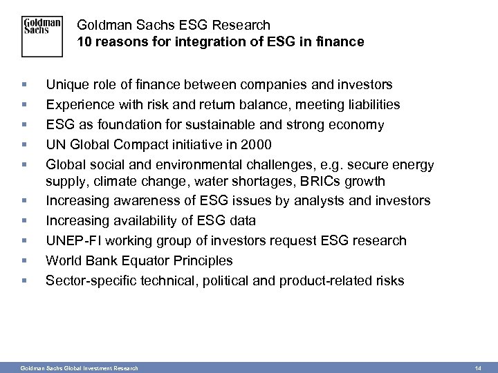 Goldman Sachs ESG Research 10 reasons for integration of ESG in finance § §