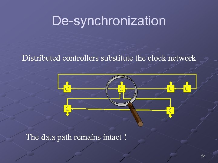 De-synchronization Distributed controllers substitute the clock network C C C The data path remains