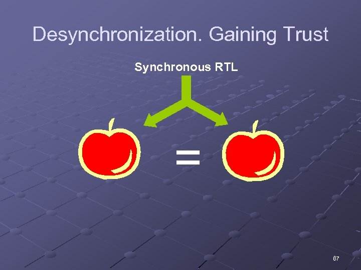 Desynchronization. Gaining Trust Synchronous RTL = 67