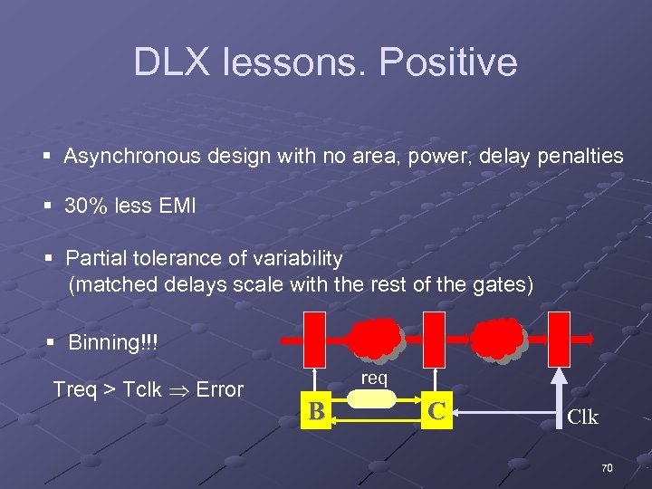 DLX lessons. Positive § Asynchronous design with no area, power, delay penalties § 30%