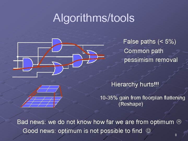 Algorithms/tools False paths (< 5%) Common path pessimism removal Hierarchy hurts!!! 10 -35% gain