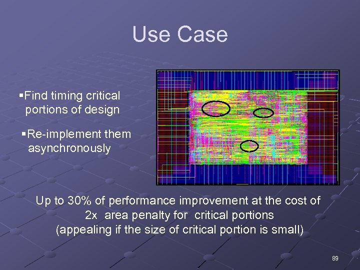 Use Case §Find timing critical portions of design §Re-implement them asynchronously Up to 30%