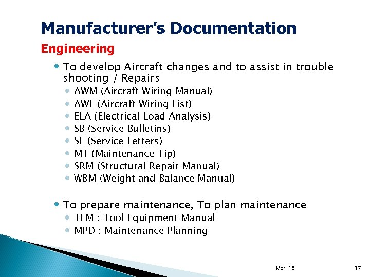 Manufacturer's Documentation Engineering To develop Aircraft changes and to assist in trouble shooting /