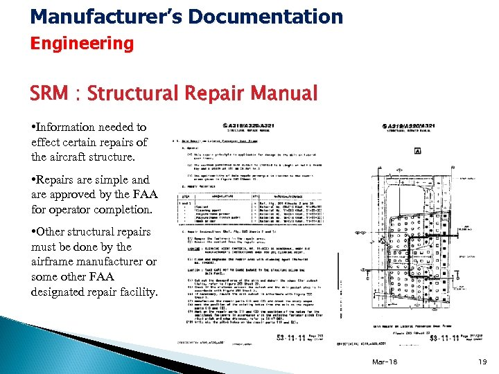 Manufacturer's Documentation Engineering SRM : Structural Repair Manual • Information needed to effect certain